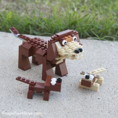 Start with a small flat brick and build this two dog design!