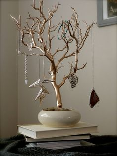 "Jewelry Holder Organizer Tree Gold and Cream 18"" painted tabletop branch necklace hanger bedroom decor for her"