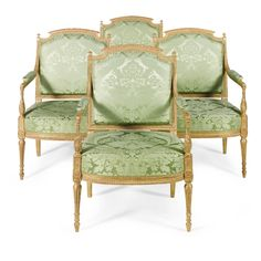 A set of four George III giltwood armchairs circa 1780, in the manner of François Hervé | lot | Sotheby's
