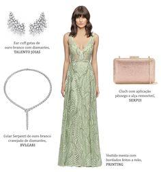 Look madrinha: vestido verde claro Printing + brincos de diamantes Talento Joias + clutch de cristais rosé Serpui + colar de serpente de diamantes Bulgari