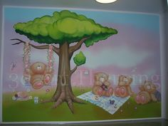 τοιχογραφία σε κοριτσίστικο παιδικό δωμάτιο