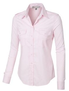 """This lightweight button down shirt with stretch is perfect for professional work attire or for a casual relaxed look. Wear it tucked in or out of a pair of skirt for work or jeans for a sleek look. Feature 97% Cotton / 3% Spandex Lightweight fabric with stretch for comfort Button down placket / Cuff sleeves for style Front and back detail stitching / Spread collar Hand wash cold or dry clean Model is wearing a size Small / Model's profile: 5'8"""", 105 lbs, Bust:..."""