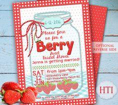 Strawberry Invitation- Bridal Shower Mason Jar Invitation- Berry- Spring Invitation - Picnic- Hens Party- Digital Invitation by Hottomatoink2 on Etsy https://www.etsy.com/listing/263722027/strawberry-invitation-bridal-shower