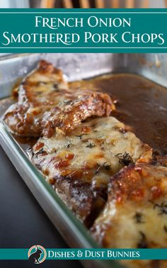 French onion soup smothered pork chops are deliciously flavourful, soul warming and simple to make with simple ingredients. It's melty cheese bubbling on top is absolutely irresistible! This recipe is Pork Chop Dishes, Pork Chop Recipes, Meat Recipes, Cooking Recipes, Pork Chops Soup Recipe, Pork Chop And Onion Soup Recipe, Recipe Using French Onion Soup, Dinner Recipes, French Onion Pork Chops Recipe