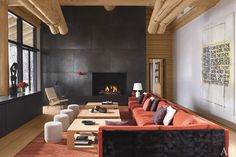 Atelier AM. The living room of a stylish ski home perched in the mountains above Aspen, Colorado