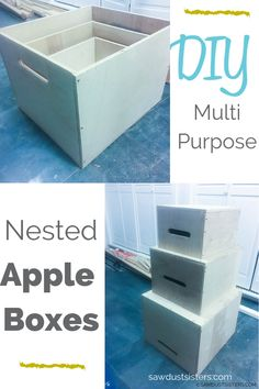DIY nested apple boxes are a multi-purpose variation of the traditional apple boxes. They're deeper than the norm and made from sturdy birch plywood. They're easy to build, light weight, stackable, and a breeze to store. Plywood Table, Plywood Boxes, Public Elementary School, Apple Boxes, Saw Wood, Wooden Cubes, Teaching Style, Secretary Desks, Fireplace Remodel