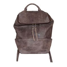 Brown Python Embossed Leather Backpack 'Square' | DAPHNY RAES