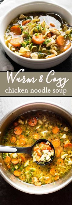 Homemade chicken noodle soup with tender chicken, carrots, and celery | girlgonegourmet.com via @april7116