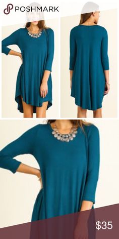 🆕🍁Teal T-Shirt Dress Super Cute for Fall! Teal Scoop Neck T-Shirt Dress with a Scalloped Hemline. 95% Rayon 5% Spandex Dresses Midi