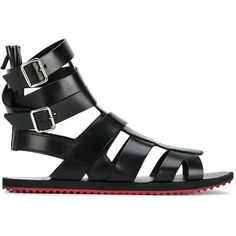 Givenchy flat sandals ($680) ❤ liked on Polyvore featuring shoes, sandals, black, mens leather sandals, mens wedge shoes, mens gladiator sandals, mens strap sandals and mens leather strap sandals