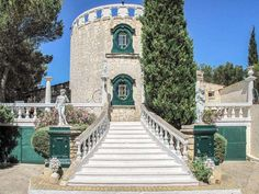 Romanesque Hilltop Villa in Gard, Languedoc-Roussillon! Classically styled villa with fabulous views over Provencal countryside. Income potential as it is currently used as a rental property. Entrance Gates, Grand Entrance, Luxury Property For Sale, Rental Property, French Exterior, High Walls, Stone Houses, Romanesque, Garden S
