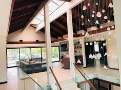 Long statement chandelier, Modern chandelier in blown glass style, perfect fpr foyer, stairwell cha Stairwell Chandelier, Hanging Ceiling Lights, Glass Chandelier, Chandelier Lighting, Ceiling Lighting, Chandeliers, Entrance Lighting, Stained Glass Light, Modern Staircase