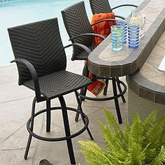 Modern Outdoor Greatroom Naples Swivel Bar Stool Design Offers Powder Coated Aluminum Frame and Hand-Woven Resin Wicker. Outdoor Bar Sets, Outdoor Patio Bar, Outdoor Living, Outdoor Decor, Pergola Patio, Pergola Kits, Outdoor Seating, Indoor Outdoor, Outdoor Stuff