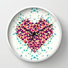 A heart is made of bits and pieces Wall Clock by VessDSign - $30.00