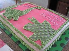 Pink Dinosaur Cake Idea from Cordial Lee