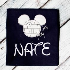 Mouse Ear Death Star Applique Tee by PitterPatterApplique on Etsy https://www.etsy.com/listing/241736851/mouse-ear-death-star-applique-tee