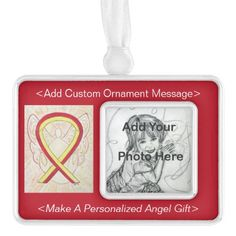 Red and Yellow Awareness Ribbon Angel Custom Photo Holiday Ornaments