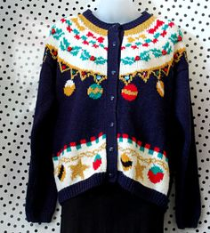 Tacky 1980s Ugly Christmas Xmas Sweater, Medium, Button Up, Navy Blue w/ Yellow, Red, & Green Ornaments, Gold Thread, Jewel details (stitch craft vintage)