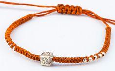 Fair Trade Thai Hill Tribe Silver Charm Waxed Cotton Bracelet Rust Block Flower