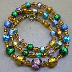 Vintage Rare HTF Venetian Rainbow Encased Foil Art Glass Beads Necklace, Murano