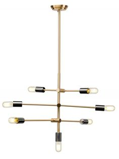 Byron Pendant in Antique Brass and Black by Nuevo Living