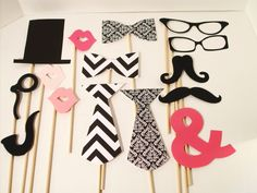 Chevron Wedding Photo Booth Props - Damask Photo Props - Ampersand 15 Piece Black and White Photo Prop Set sur Etsy, €