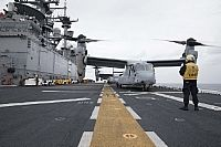 170314-N-UM082-010   ATLANTIC OCEAN (March 14, 2017) An MV-22B Osprey assigned to Marine Medium Tiltrotor Squadron (VMM) 365 (Reinforced) prepares to take off from the amphibious assault ship USS Bataan (LHD 5). The ship and its amphibious ready group are deployed in support of maritime security operations and theater security cooperation efforts in the 6th Fleet area of operations.  (U.S. Navy photo by Mass Communication Specialist 3rd Class Raymond Minami/Released)