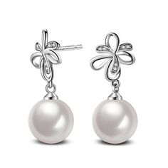 Hemlock Women Lady Exquisite Pearl Earrings Plated Zircon Ear Stud D *** For more information, visit image link.-It is an affiliate link to Amazon. #PearlEarrings