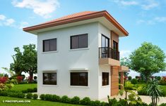 Elisa – Four Bedroom Compact Two Storey House Design | Pinoy ePlans 2 Story House Design, Small House Design, Bed Design, 1 Bedroom House, Modern Bungalow House, Two Storey House, Ground Floor Plan, Built In Cabinets, Elements Of Design