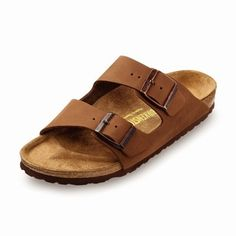 birkenstock arizona cocoa nubuck  $108.00  Arizona cocoa nubuck is the classic two-strap style sandals in a variety of materials with fully adjustable straps and shock-absorbing EVA sole.