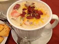 Loaded Baked Potato Soup - amazing Disney recipe to die for! Load your soup with lots of bacon and cheese