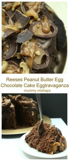 This indulgentReese's Peanut Butter Egg Chocolate Cake Eggtravaganza is a peanut butter fan's dream cake. Chocolate sponges filled with a chocolate and peanut butter frosting, topped with Reese's eggs, chocolate and a caramel sauce.