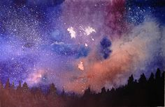 A watercolor of the night sky I painted Night Skies, Sky, Watercolor, Celestial, Outdoor, Heaven, Pen And Wash, Outdoors, Watercolor Painting