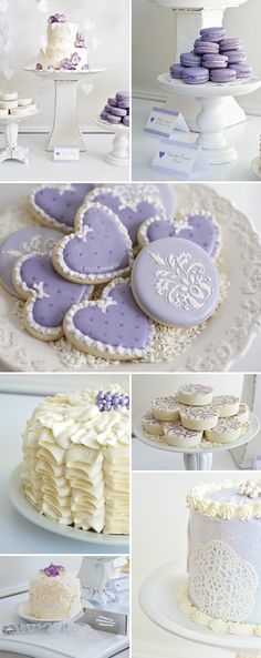 Lavender color themed baby shower! The macarons and frosted cookies look divine!