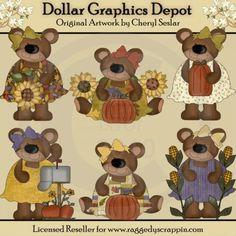 Autumn Bears - Clip Art - *DGD Exclusive*