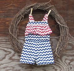 Girls short Romper red white blue Chevron by SouthernSister2, $30.00