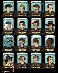 Famous Doctors' heads Futurama-ized. Aside from the great Doctors of the Who variety, I also like that Dr. Horrible and Doogie are looking at each other. ;)