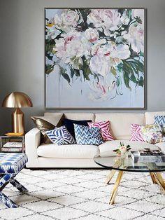 Resumen flores pintura al óleo sobre lienzo Arte por CelineZiangArt                                                                                                                                                                                 Más