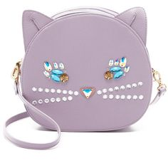 Patricia Chang Cat Cross Body Bag (434 AUD) ❤ liked on Polyvore featuring bags, handbags, shoulder bags, purses, lavender, leather crossbody, purple leather shoulder bag, leather handbags, leather man bag and leather cross body purse