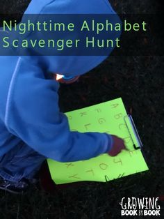 Grab the flashlights and head outside for a nighttime alphabet treasure hunt for kids. Find all the letters of the alphabet and unlock a special alphabet treat.