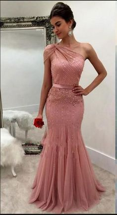Classy Prom Dresses, New Design Dusty Rose Formal Dresses Evening Wear One Shoulder Beaded Mermaid Long Arabic Prom Party Special Occasion Gowns Cheap Prom Dresses Long Dusty Rose Dress, Cheap Gowns, Bridesmaid Dresses, Prom Dresses, Beaded Dresses, Dresses Uk, Sweet 16 Dresses, Popular Dresses, Dance Dresses