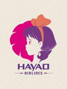 Pop artist makes familiar logos even better with Ghibli characters - Kiki and Jiji in the Hawaiian Airlines logo Studio Ghibli Films, Studio Ghibli Characters, Classic Cartoon Characters, Classic Cartoons, Hayao Miyazaki, Totoro, Airline Logo, Culture Pop, Famous Logos