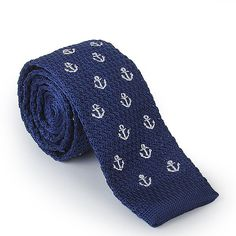 Skinny Knitted Tie Men Necktie Groomsmen Necktie Casual Knitted Neckties NavySailor Design Knit Tie