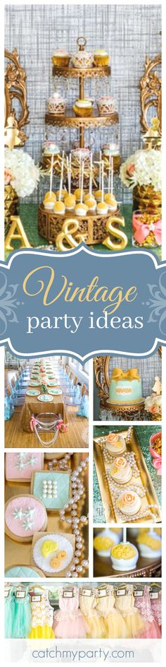 Take a look at this glamorous Vintage Sequins & Pearls birthday party! The dessert table is absolutely stunning!! See more party ideas and share yours at CatchMyParty.com