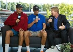 """September 4, 2014; Flushing, NY: Bob and Mike Bryan (USA) are interviewed by Tennis Channel's Jim Courier and Mary Carillo on Tennis Channel's """"Loft"""" set on Day 11 of the 2014 US Open. - Fred Mullane/camerawork usa"""