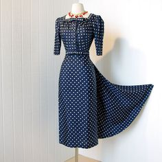 vintage 1940's dress ...amazing couture designer HATTIE CARNEGIE blue & white polkadot WWII iconic pin-up dress with fishtail bustle