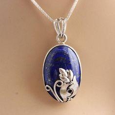Silver artisan pendant necklace - Unique lapis lazuli pendant chain $135.00