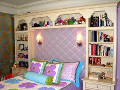 loves the built-in bookshelf around the bed