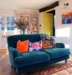 Interior designer and judge on The Great Interior Design Challenge, Sophie Robinson on how to style our home AND be kind the planet. Home Living Room, Living Room Decor, Living Spaces, Sophie Robinson, Teal Couch, Bluebellgray, Colourful Living Room, Home Decor Kitchen, Decoration