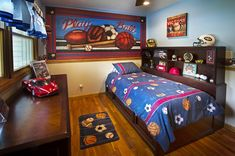 Sports Mural for a boys room | Murals Your Way